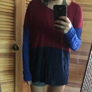 Tri-color long sleeve shirt